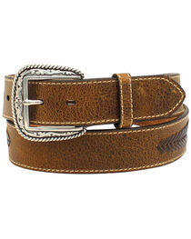 Ariat Men's Distressed Leather Lace Concho Belt, , hi-res