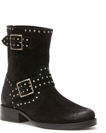 Frye Women's Black Vicky Stud Engineer Boots - Round Toe , , hi-res