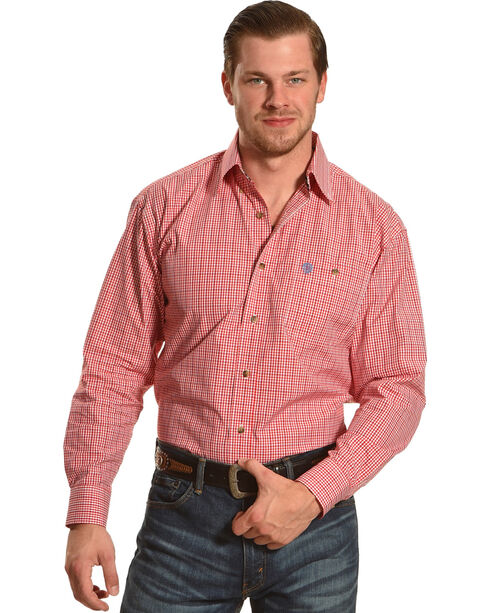 Wrangler George Strait Red/White Plaid Long Sleeve Shirt - Big & Tall, Red, hi-res
