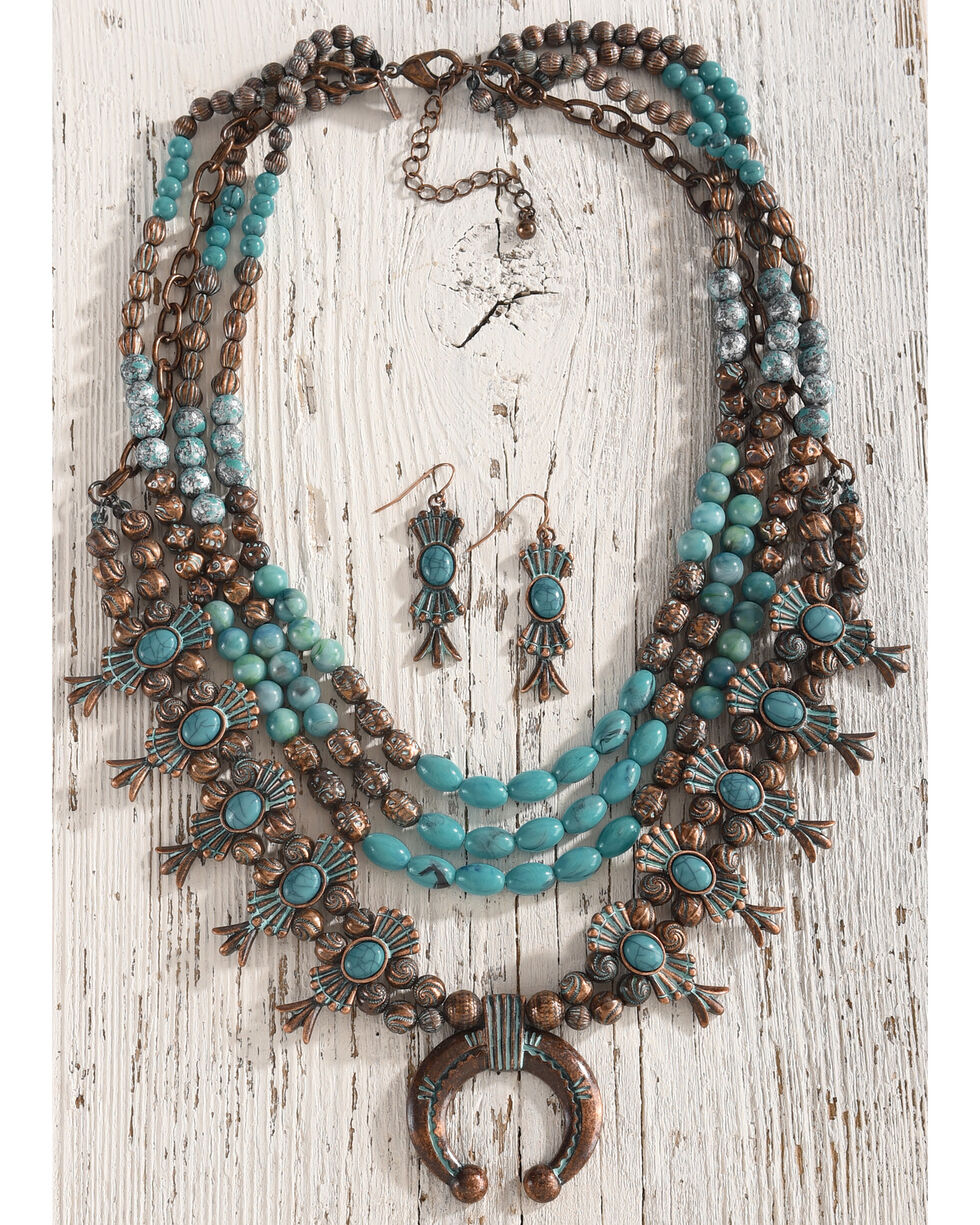 Shyanne Copper Patina Squash Blossom Jewelry Set, Turquoise, hi-res