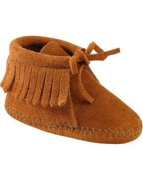 Minnetonka Infant Boys' Fringe Bootie Moccasins, Brown, hi-res