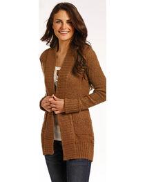 Panhandle Women's Brown Rib Knit Cardigan , , hi-res