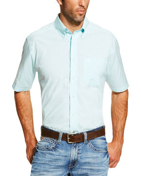 Ariat Men's Light Blue Finny Short Sleeve Shirt , Light Blue, hi-res