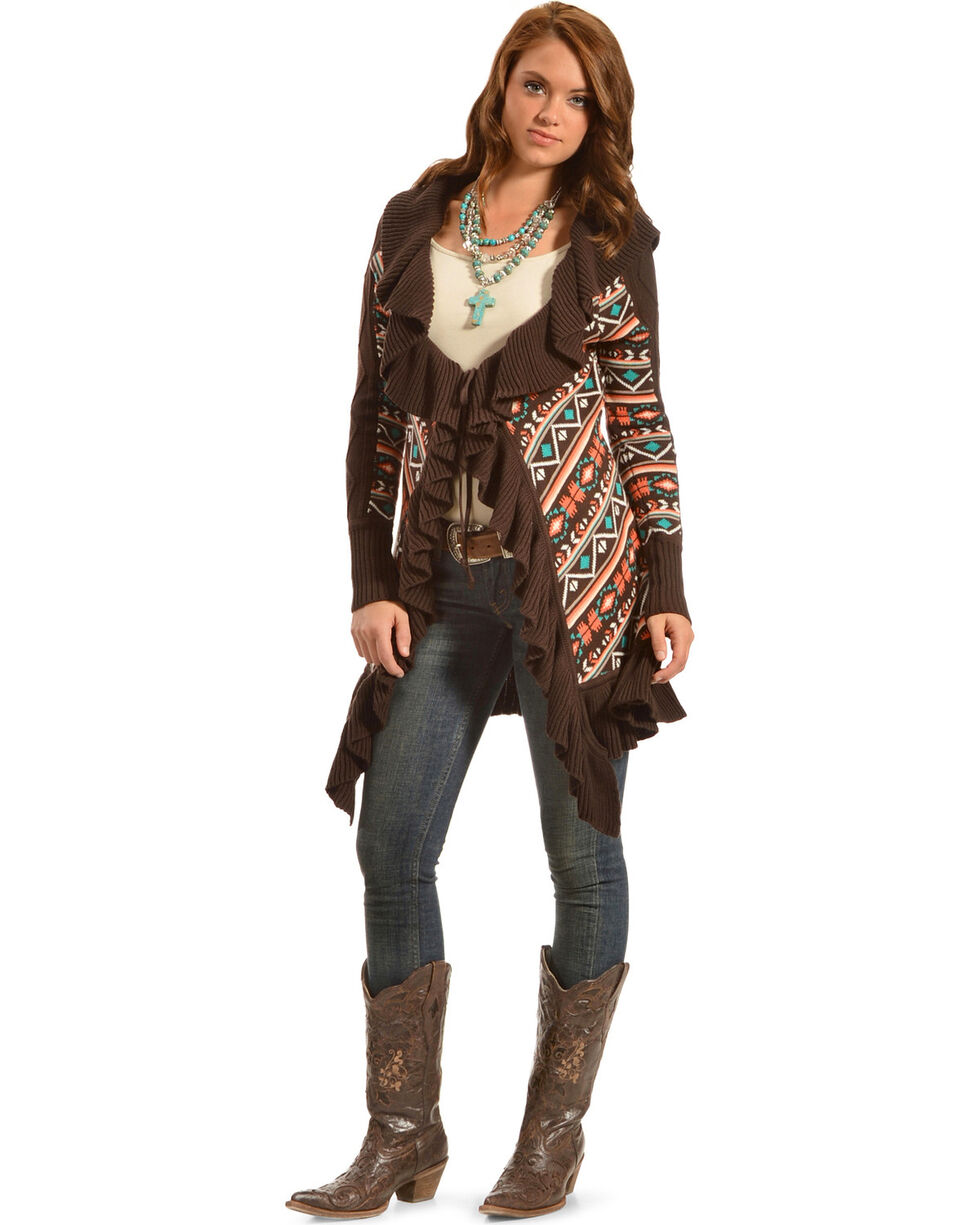 Powder River Outfitters Women's Ruffle Knit Cardigan, Multi, hi-res