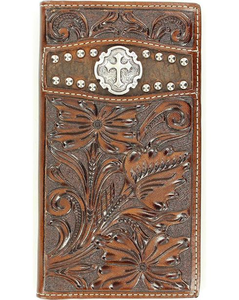 Ariat Tooled Cross Concho Rodeo Wallet, Brown, hi-res