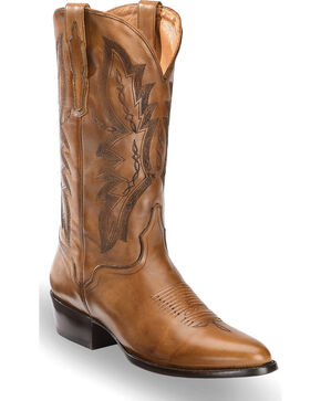 El Dorado Men's Handmade Tan Embroidered Western Boots – Medium Toe, Tan, hi-res