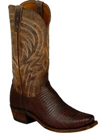 Lucchese Men's Tan Percy Lizard Boots - Square Toe , , hi-res