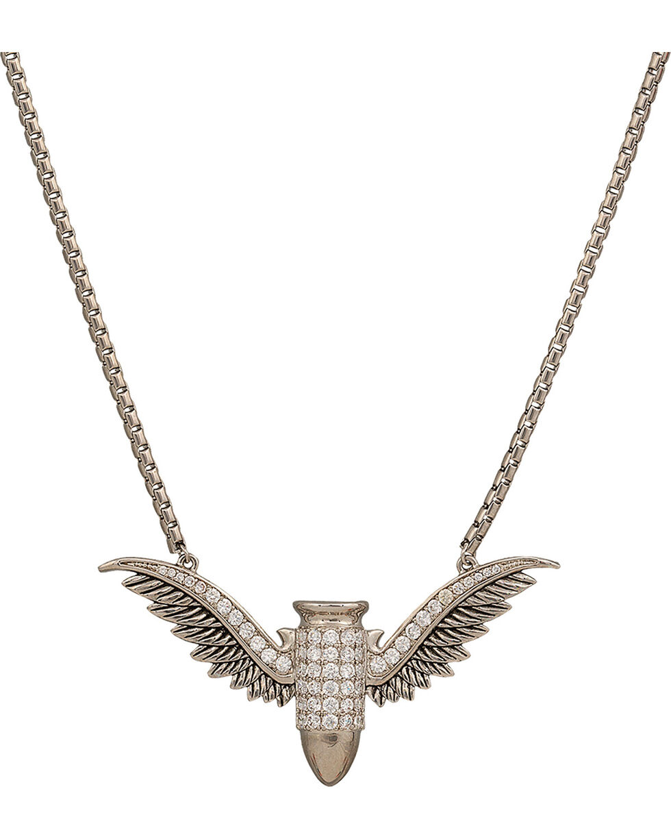 Girls with Guns Winged Bullet CZ Necklace , Antique Silver, hi-res