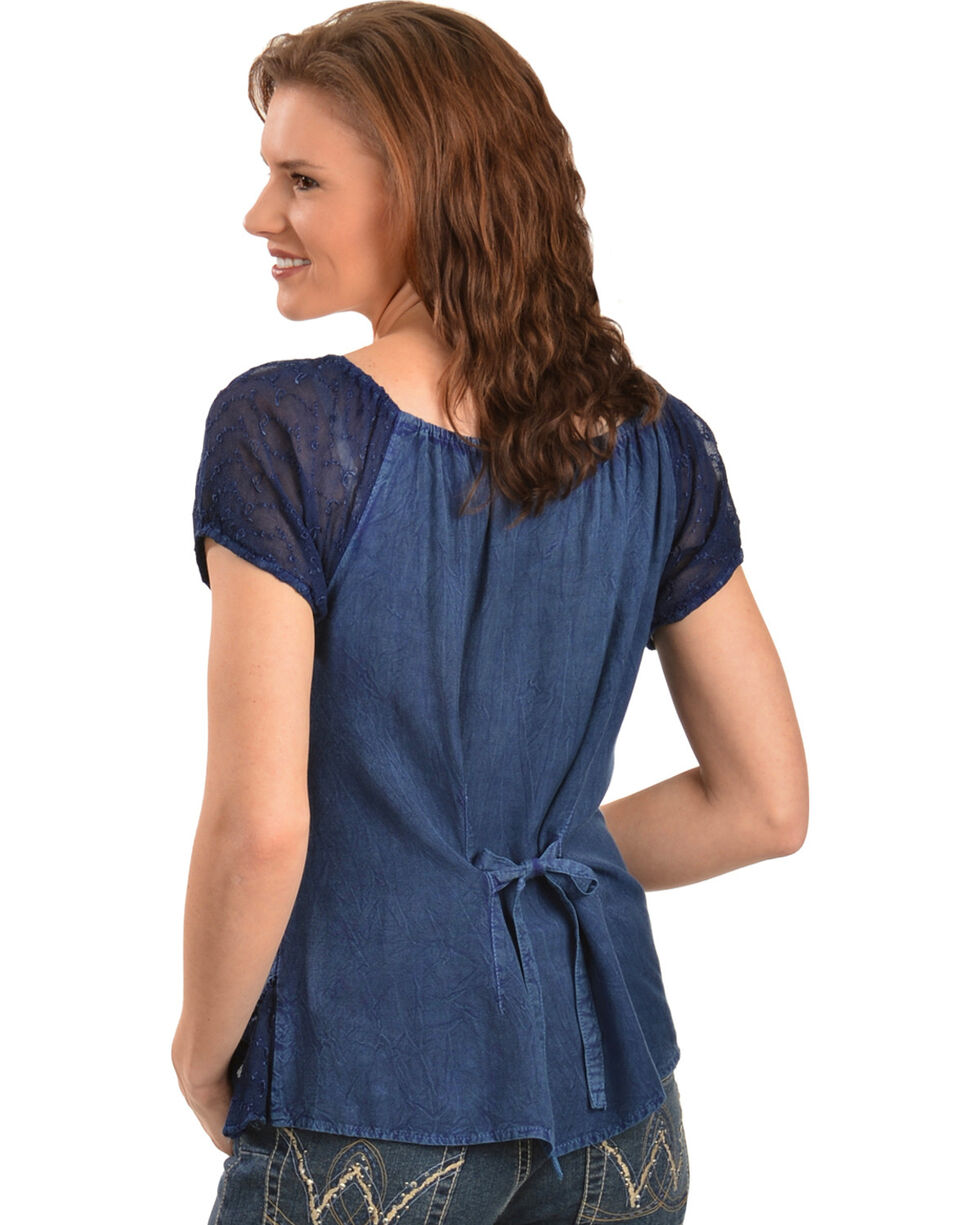 Scully Women's Short Sleeve Peasant Blouse, Blue, hi-res