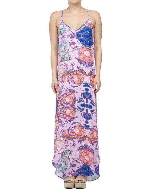 Glam Women's Sleeveless Floral Maxi Dress , Multi, hi-res