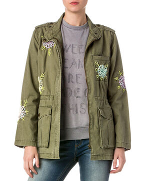 Miss Me Women's Embroidered Cargo Jacket, Olive, hi-res