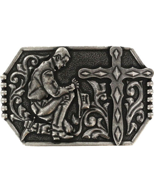 Cody James® Praying Cowboy Cross Belt Buckle, Dark Grey, hi-res