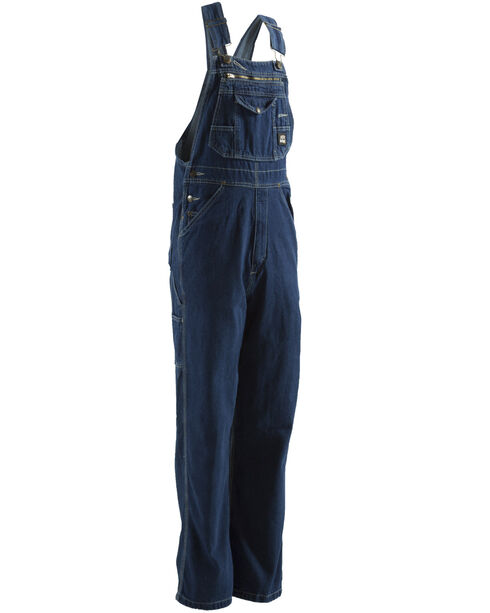 Berne Dark Stonewash Original Unlined Washed Denim Bib Overalls - Tall (34), Stonewash, hi-res