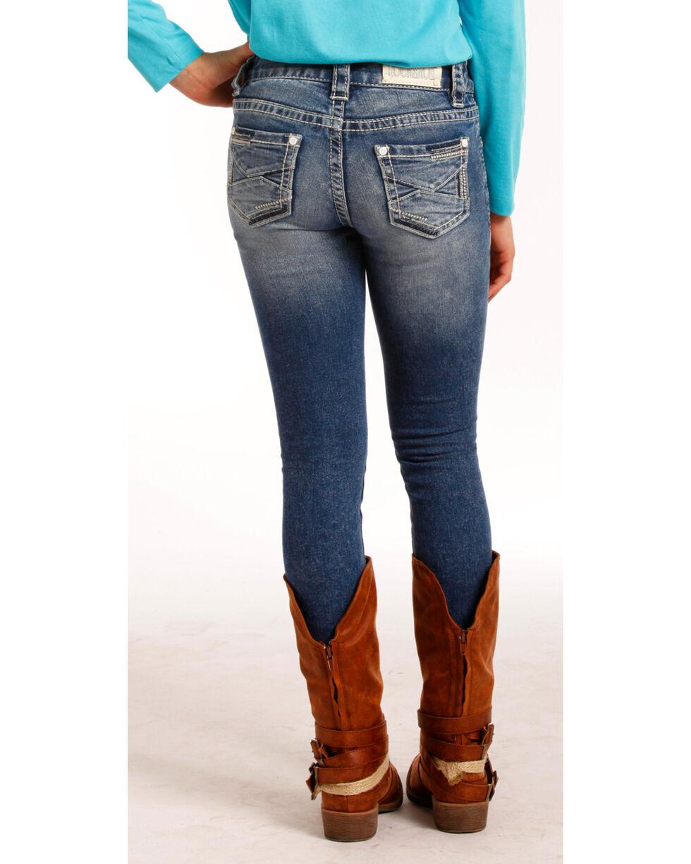 Rock & Roll Cowgirl Girls' (7-14) Extra Stretch Jeans - Skinny , Indigo, hi-res