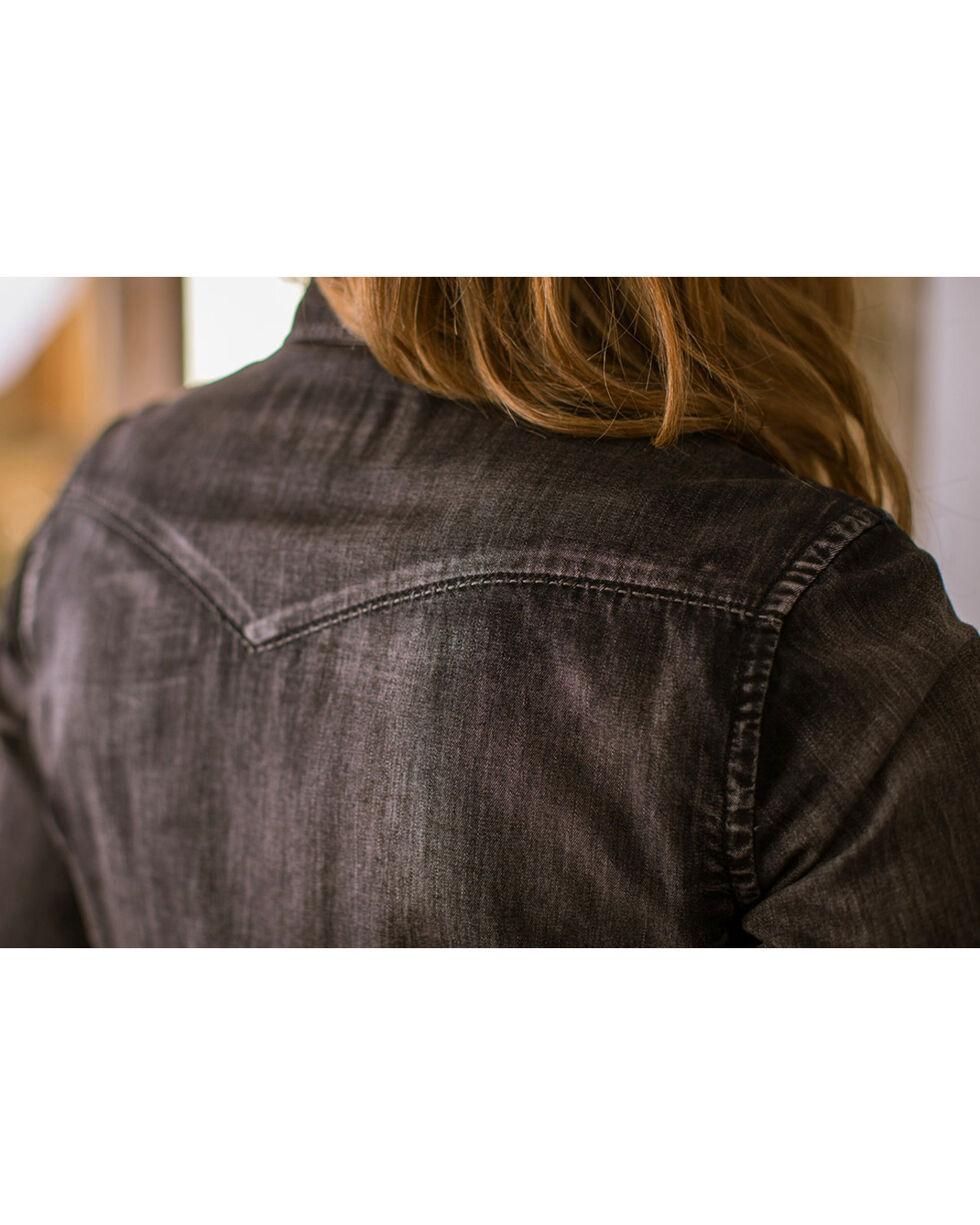 Ryan Michael Women's Black Denim Shirt , Black, hi-res