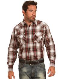 Ely Cattleman Men's Brown Textured Plaid Long Sleeve Snap Shirt, , hi-res