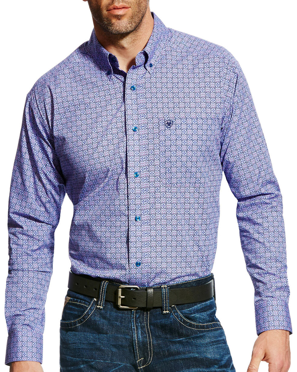 Ariat Men's Emery Print Button Down Shirt, Purple, hi-res