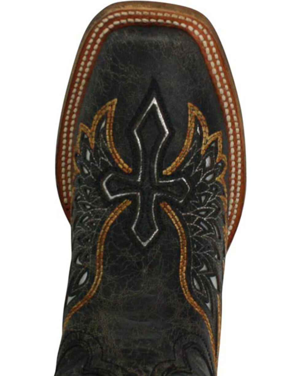 Corral Women's Gold and Silver Wing and Cross Western Boots, Black, hi-res