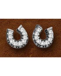 Kelly Herd Sterling Silver Tiny Rhinestone Horseshoe Earrings, Silver, hi-res