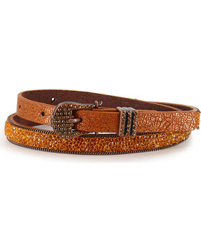 Shyanne Girls' Leather Rhinestone Belt, Brown, hi-res