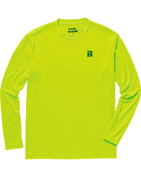 Wrangler Men's Riggs Crew Performance Long Sleeve T-Shirt, Bright Green, hi-res