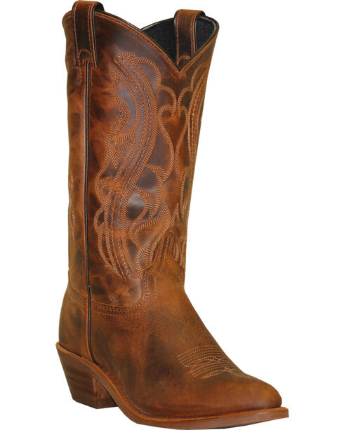 Abilene Sage Distressed Brown Cowboy Boots - Round Toe, Dark Brown, hi-res