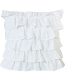 HiEnd Accents White Tiered Ruffled Eyelet Pillow, , hi-res