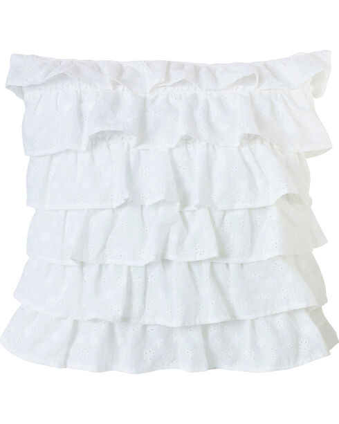 HiEnd Accents White Tiered Ruffled Eyelet Pillow, White, hi-res