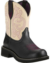 Ariat Fatbaby Women's Heritage Black/Cream Cowgirl Boots - Round Toe, , hi-res