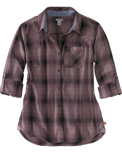 Carhartt Women's Dodson Plaid Long Sleeve Shirt, Heather Grey, hi-res
