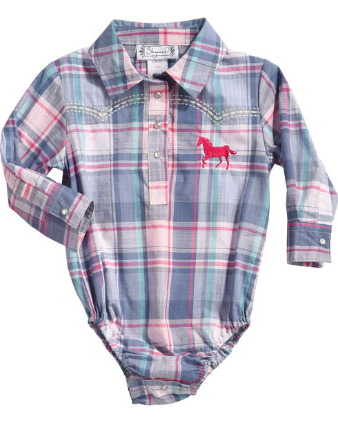 Shyanne® Infant Girls' Plaid Long Sleeve Onesie, Blue, hi-res