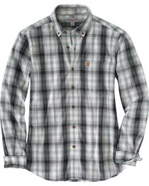 Carhartt Men's Black Essential Plaid Button Down Long Sleeve Shirt, , hi-res