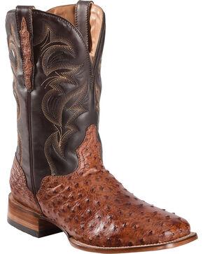 El Dorado Men's Full Quill Ostrich Stockman Boots - Square Toe, Cognac, hi-res
