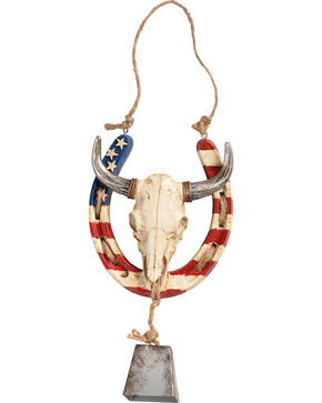 BB Ranch Americana Horseshoe Steer Skull Wall Decor, Red/white/blue, hi-res