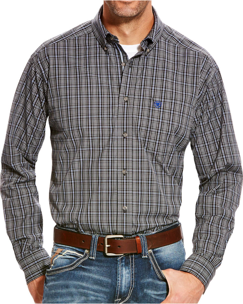 Ariat Men's Grey Barnhart Print Western Shirt , Grey, hi-res