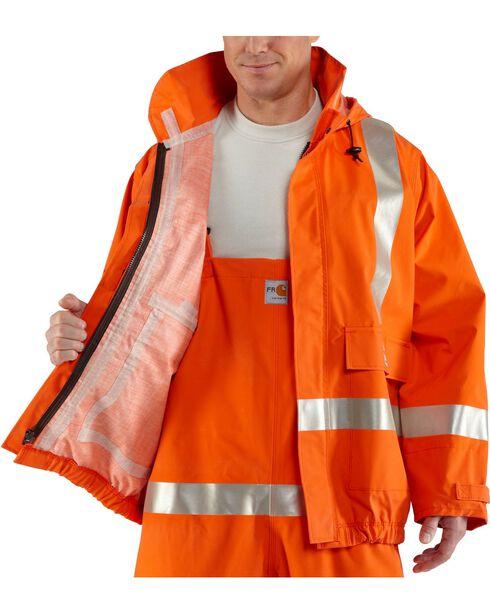 Carhartt Men's Flame Resistant Rain Jacket, Orange, hi-res