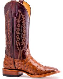 Horse Power Men's Red Raven Ostrich Print Boots - Square Toe, , hi-res
