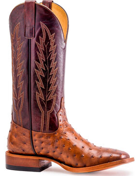 Horse Power Men's Red Raven Ostrich Print Boots - Square Toe, Lt Brown, hi-res