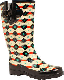 Blazin Roxx Hattie Aztec Rain Boots - Square Toe , , hi-res