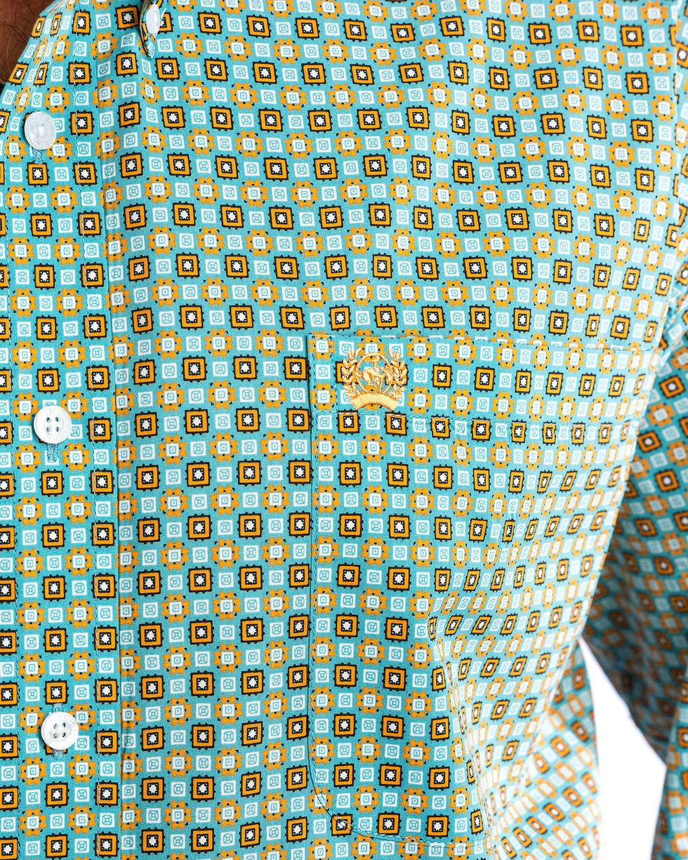 Cinch Men's Popping Print Western Shirt , Blue, hi-res