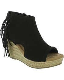 Minnetonka Women's Blaire Wedge Sandals, Black, hi-res