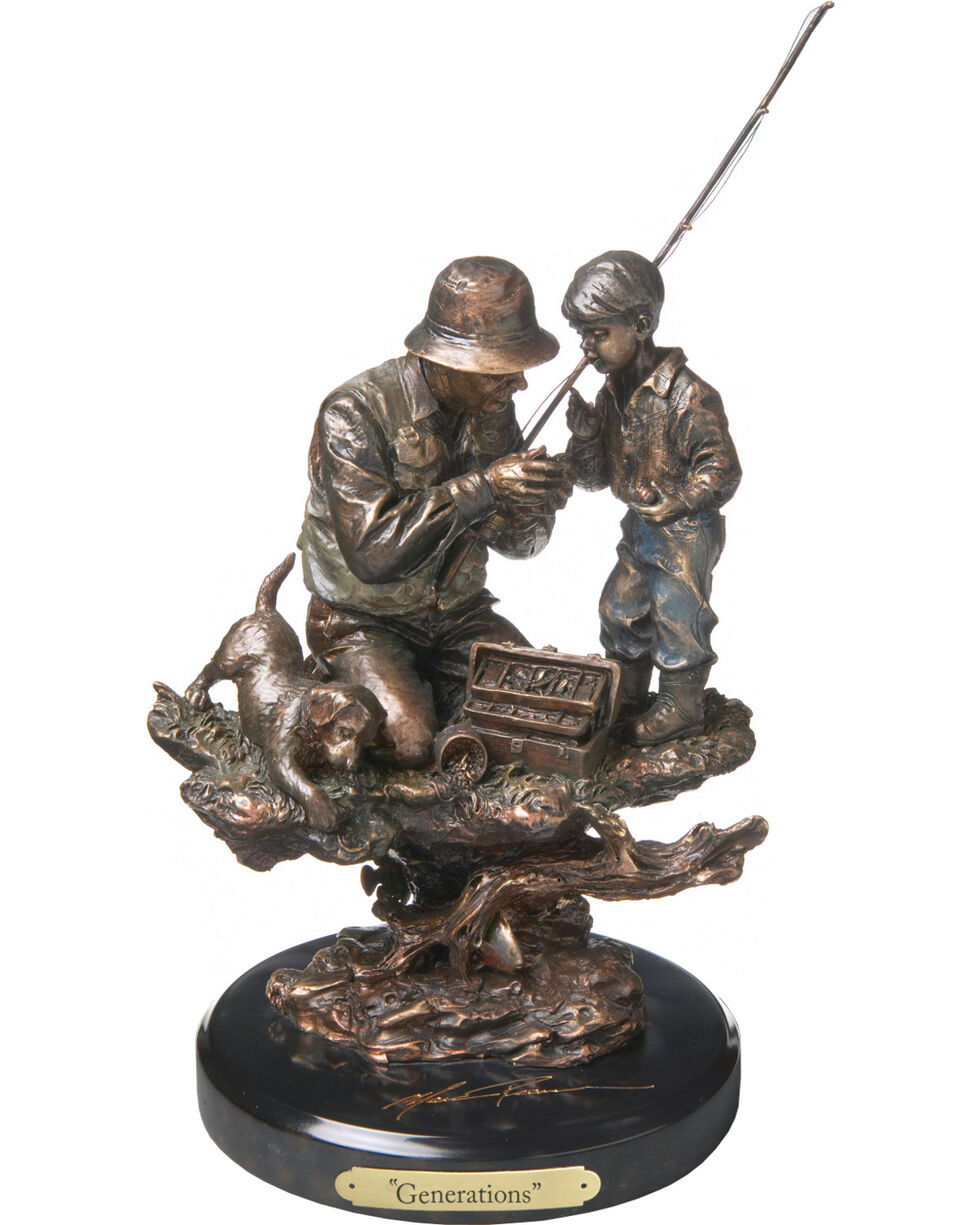 Demdaco Bronze Generations Fishing Sculpture , Bronze, hi-res