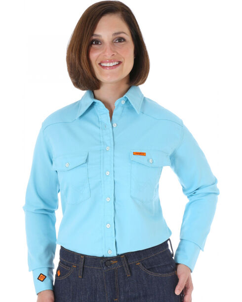 Wrangler Women's Flame-Resistant Long Sleeve Shirt, Turquoise, hi-res