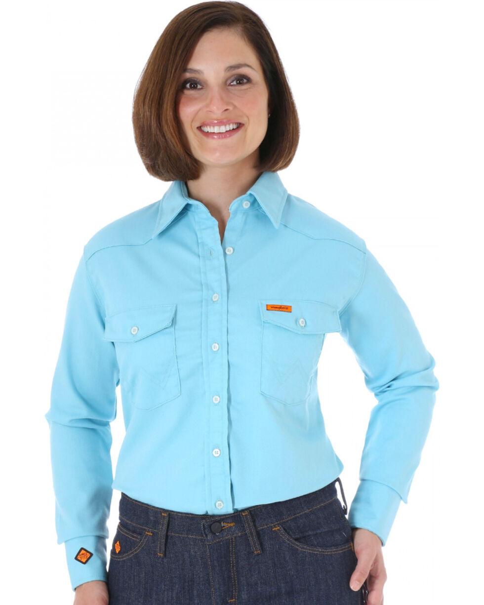 Wrangler Women's Flame-Resistant Long Sleeve Shirt, Turquoise, hi-res