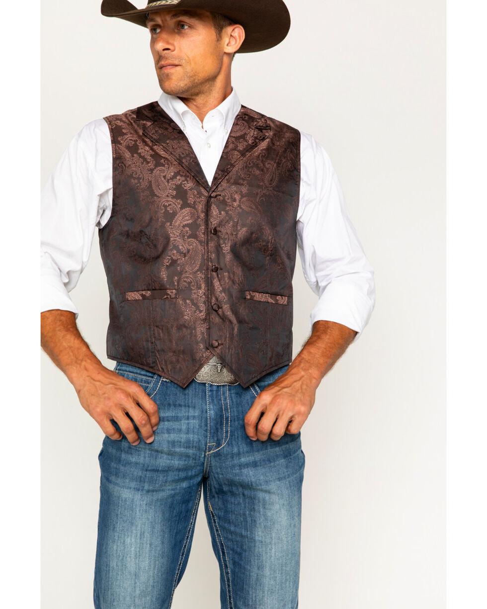 Cody James Men's Paisley Printed Vest, Brown, hi-res