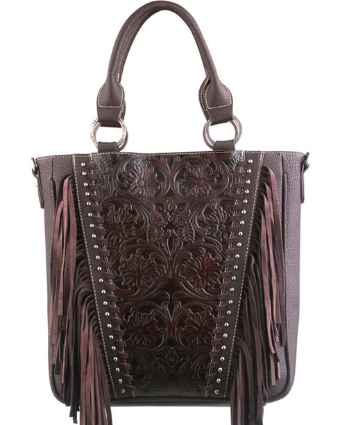 Montana West Trinity Ranch Coffee Tooled Design Concealed Handgun Collection Handbag, Brown, hi-res