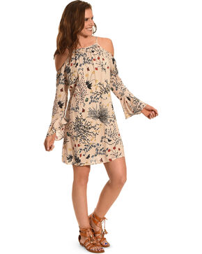 Young Essence Women's Floral Drop Shoulder Dress, Beige/khaki, hi-res