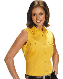 Roper Women's Stretch Poplin Sleeveless Shirt - Plus, , hi-res