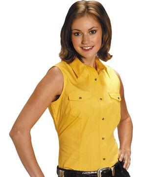 Roper Women's Stretch Poplin Sleeveless Shirt - Plus, Yellow, hi-res