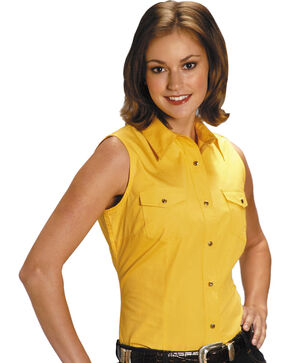 Roper Women's Stretch Poplin Sleeveless Shirt, Yellow, hi-res
